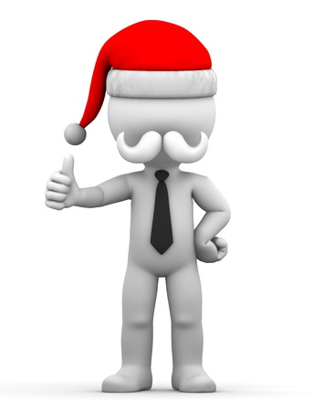 Santa showing thumbs up  Isolated on white background photo