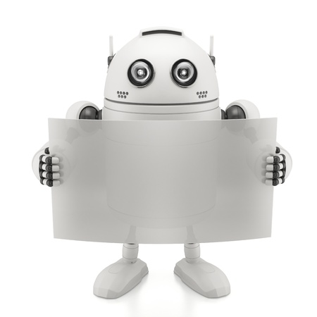 android robot: Robot with blank board. Isolated on white