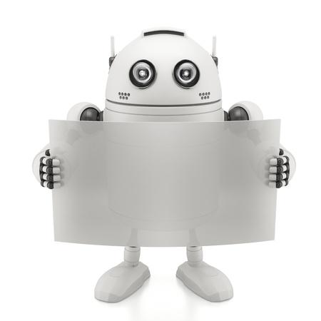Robot with blank board. Isoliert auf weißem