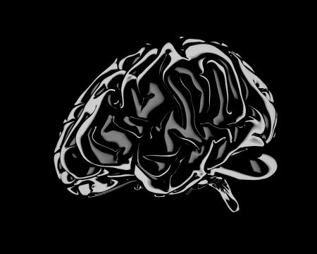 stilllife: Still life render of a Human Brain over black background Stock Photo