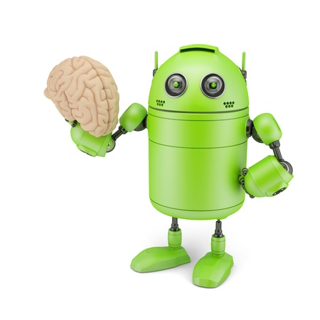 Android with Brain. Isolated on white photo