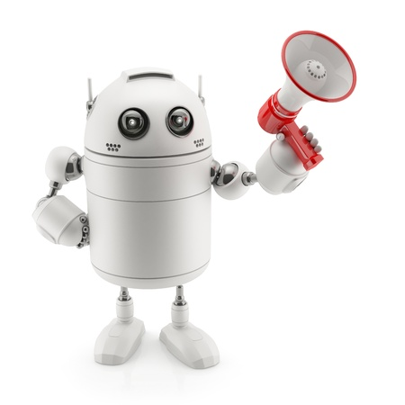 Robot with megaphone. Isolated on white photo