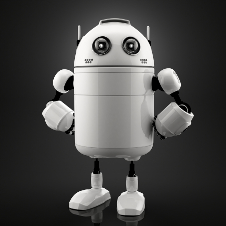 Single standing robot. Black background photo