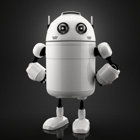 man standing alone: Single standing robot. Black background