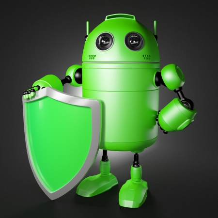 cyber defence: Android guard with shield. Technology protection cocept