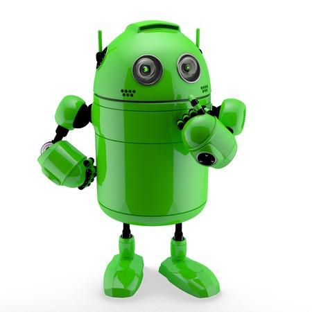 Seitenansicht eines Denkens Android. Isoliert vor einem weißen Hintergrund Lizenzfreie Bilder