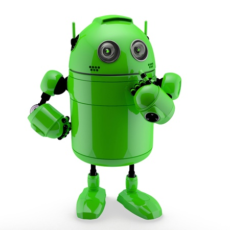Side view of a  thinking Android. Isolated against a white background photo