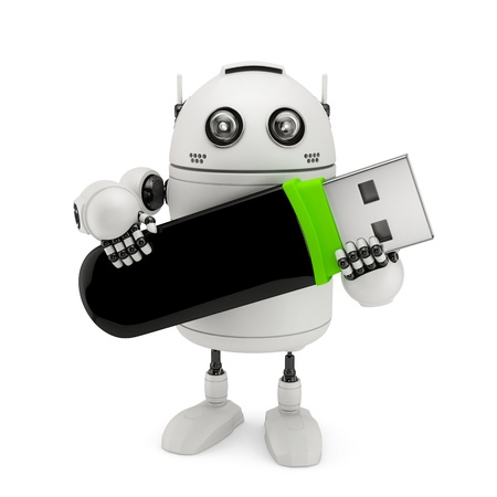 Robot holding usb flash drive. Isolated on white photo