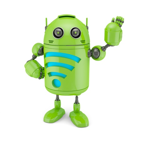 Android with WiFi symbol. Isolated on white photo