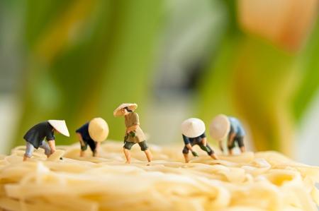 Figurine Bauern auf Nudel-Bereich Makro-Foto