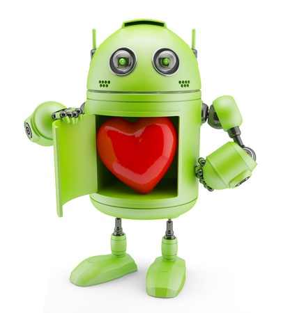 Robot shows heart  Isolated on white background