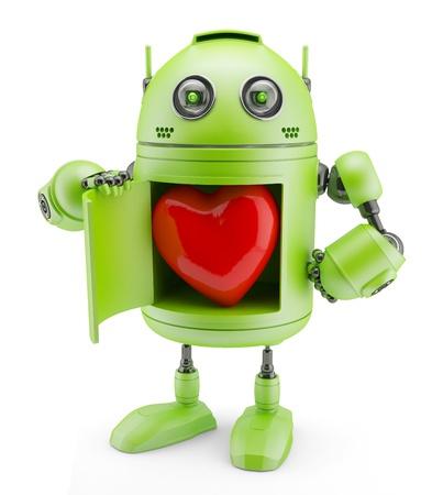 Robot zeigt Herz auf weißem Hintergrund