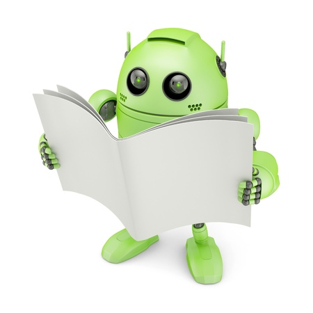 Robot with blank book  Isolated on white photo