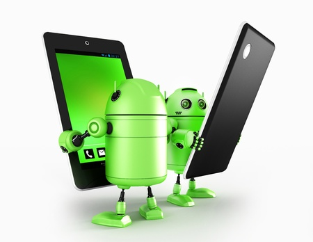 android tablet: Robots with tablet  Rendered on white background
