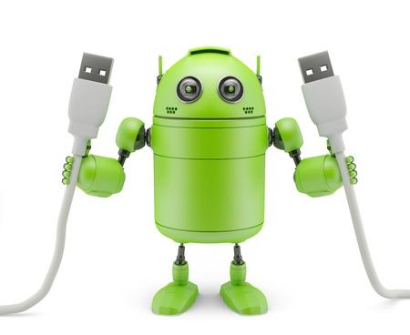 enchufe: Robot que sostiene los cables USB aislado en blanco Foto de archivo