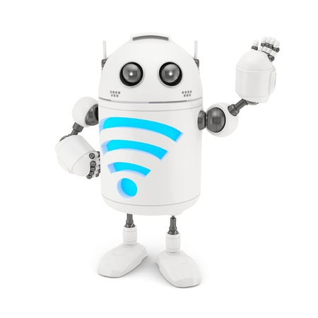 wifi: Robot with WiFi symbol  Isolated on white background