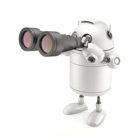 Robot with binocular. Searching concept Stock Photo - 18294254