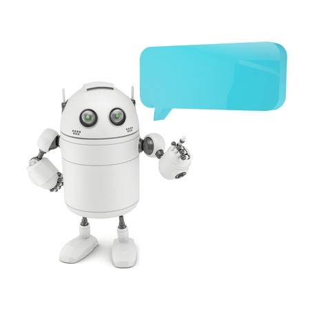 Robot with chat bubble. Isolated on white photo