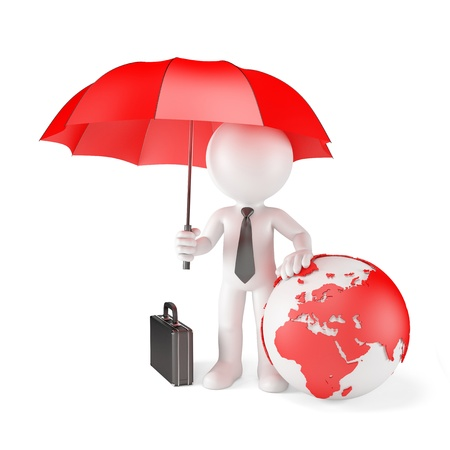 Businessman with Umbrella and earth globe. Global protection concept. Isolated photo