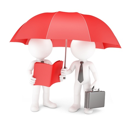 Group of business people with umbrella and manual. Isolated on white photo