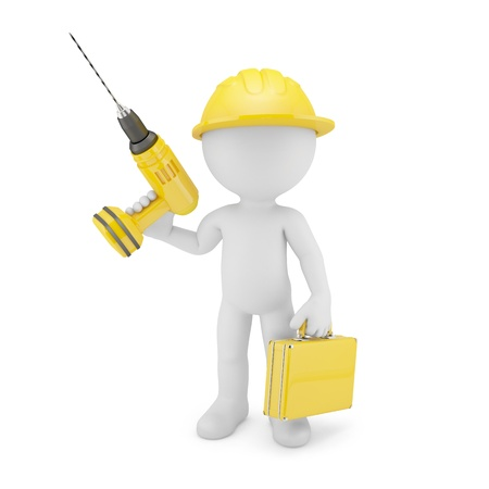 Worker with drill. Isolated on white photo