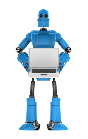 Robot holding laptop with copyspace available on the computer screen  Isolated photo