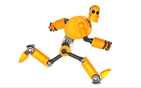 Running Robot  Isolated on white Stock Photo
