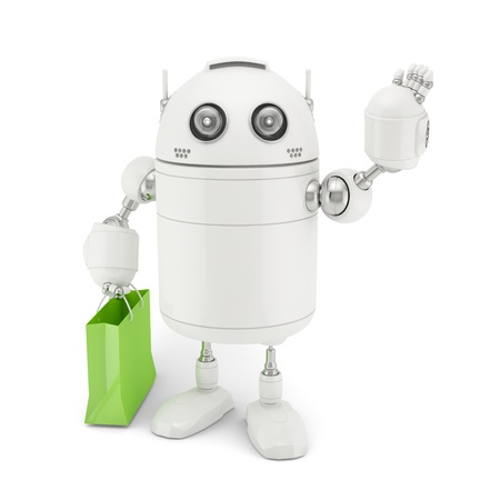 Robot with shopping bag  Rendered on white background photo