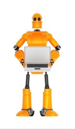 Robot with blank laptop computer  Isolated on white background Stock Photo
