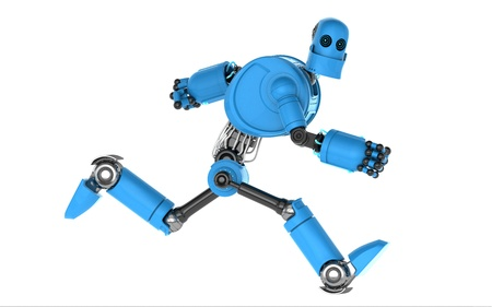 Running blue robot  Isolated on white