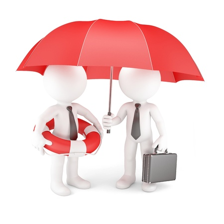 Business team with umbrella and life buoy  Business safety concept Stock Photo