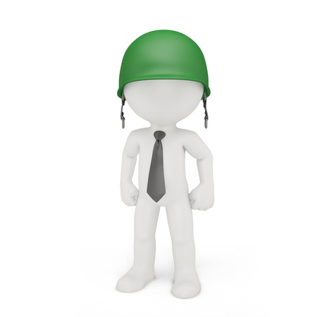 Businessman in a military helmet  Business strategy concept photo