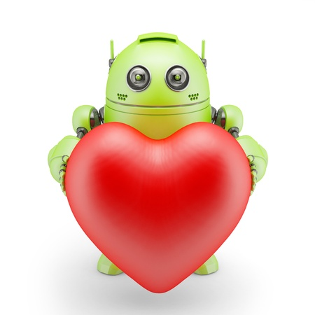 Cute robot with big red heart  Rendered over white background photo