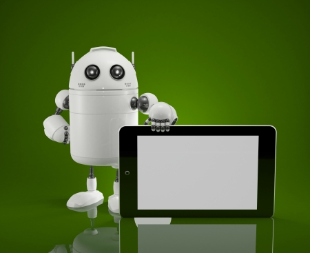 Robot with blanc screen tablet computer  photo