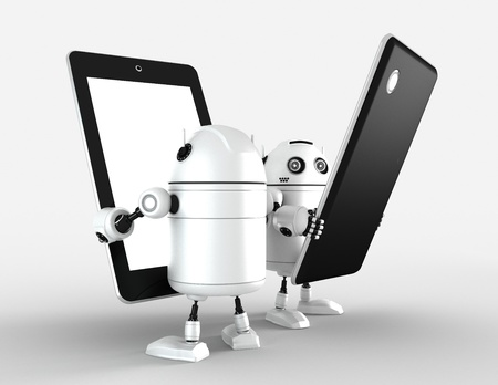 Two robots with blank tablet computers  Rendered on white photo