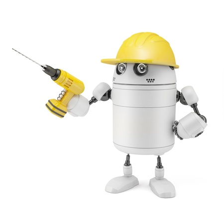 Robot worker  Isolated on white