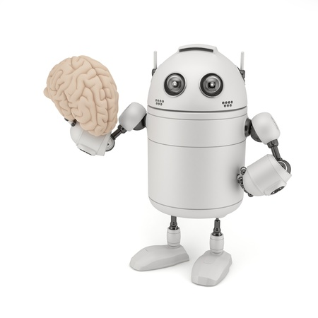 Robot with Brain  Isolated on white photo