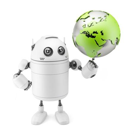 holding globe: Carino bianco robot azienda globo isolato su sfondo bianco Archivio Fotografico