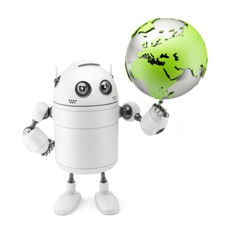 Cute white robot holding globe  Isolated on white background Stock Photo - 19493234