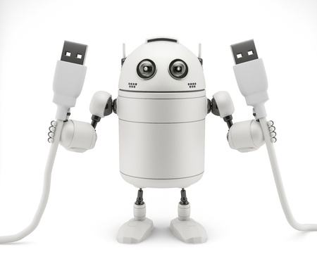 Robot keep in hand a usb cable