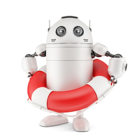 Robot with life buoy. Isolated on white Stock Photo