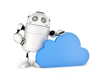web robot: Cloud computing, technology connectivity concept . Isolated on white