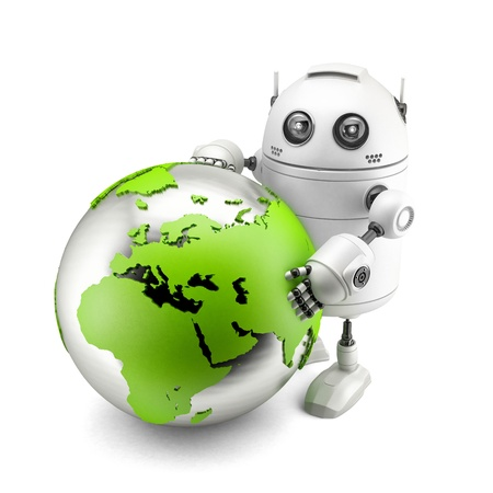 android robot: Robot with green earth globe. Isolated on white
