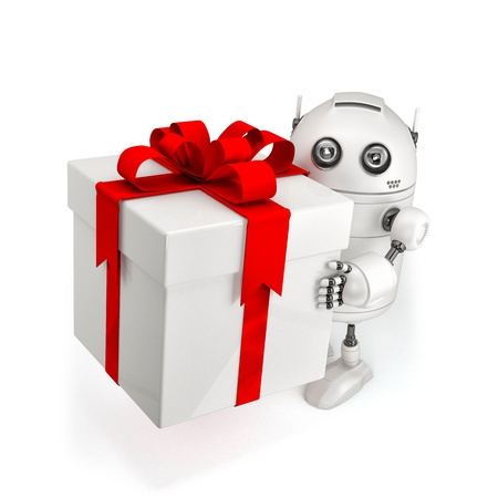 give: Robot with gift box. Isolated on white