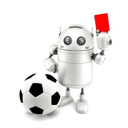 Robot playing soccer Isolated on white photo