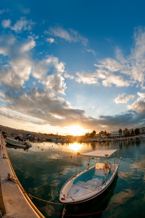Fishing boat at sunset  Cyprus