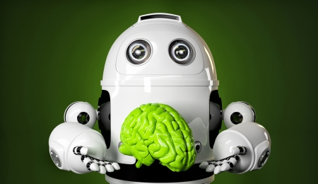 android robot: Android holding a large green brain  Rendered over green background Stock Photo