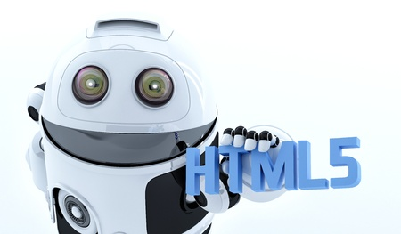 Robot android holding html5 sign  Rendered on white background photo