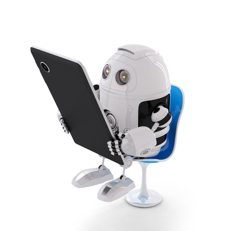 Android robot sitting with a Tablet Computer  Isolated on white background photo
