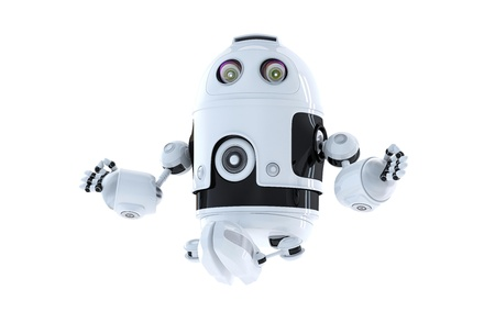 Android robot meditating  Isolated on white Stock Photo